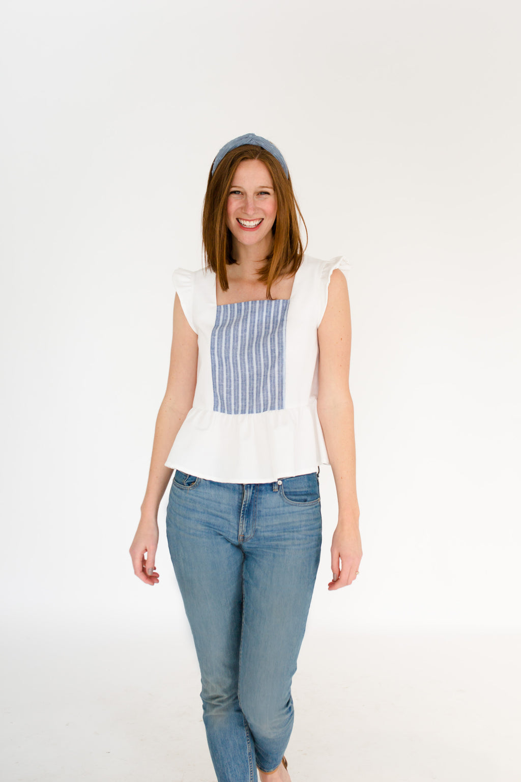 Erika Peplum Top in White/Atlantic Stripe
