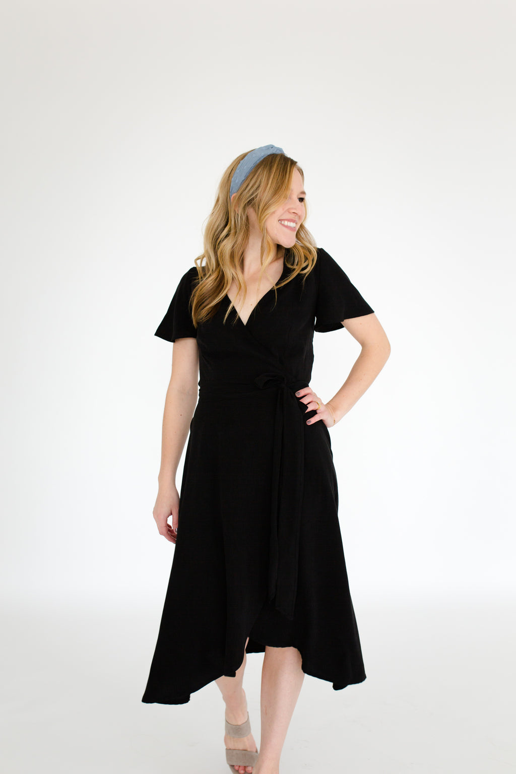 Charlotte Wrap Dress in Black