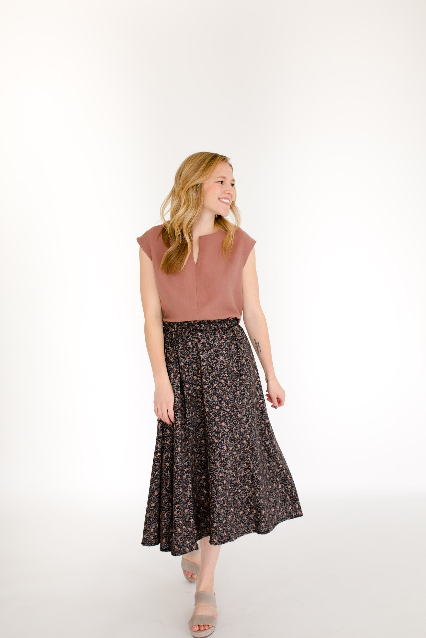 Elizabeth Top & Natalie Skirt Set in Rose/Night