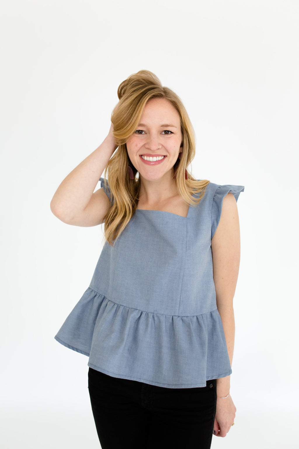 Erika Peplum Top in Chambray