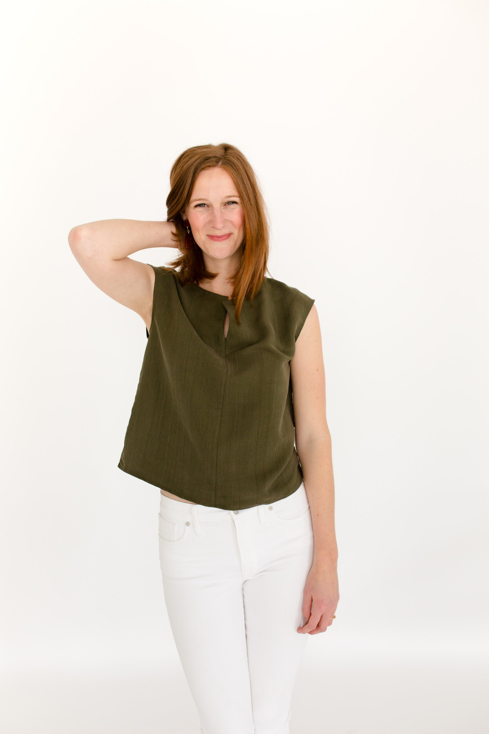 Elizabeth Box Top in Olive