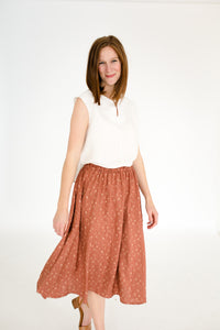 Elizabeth Top & Natalie Skirt Set in White/Chestnut