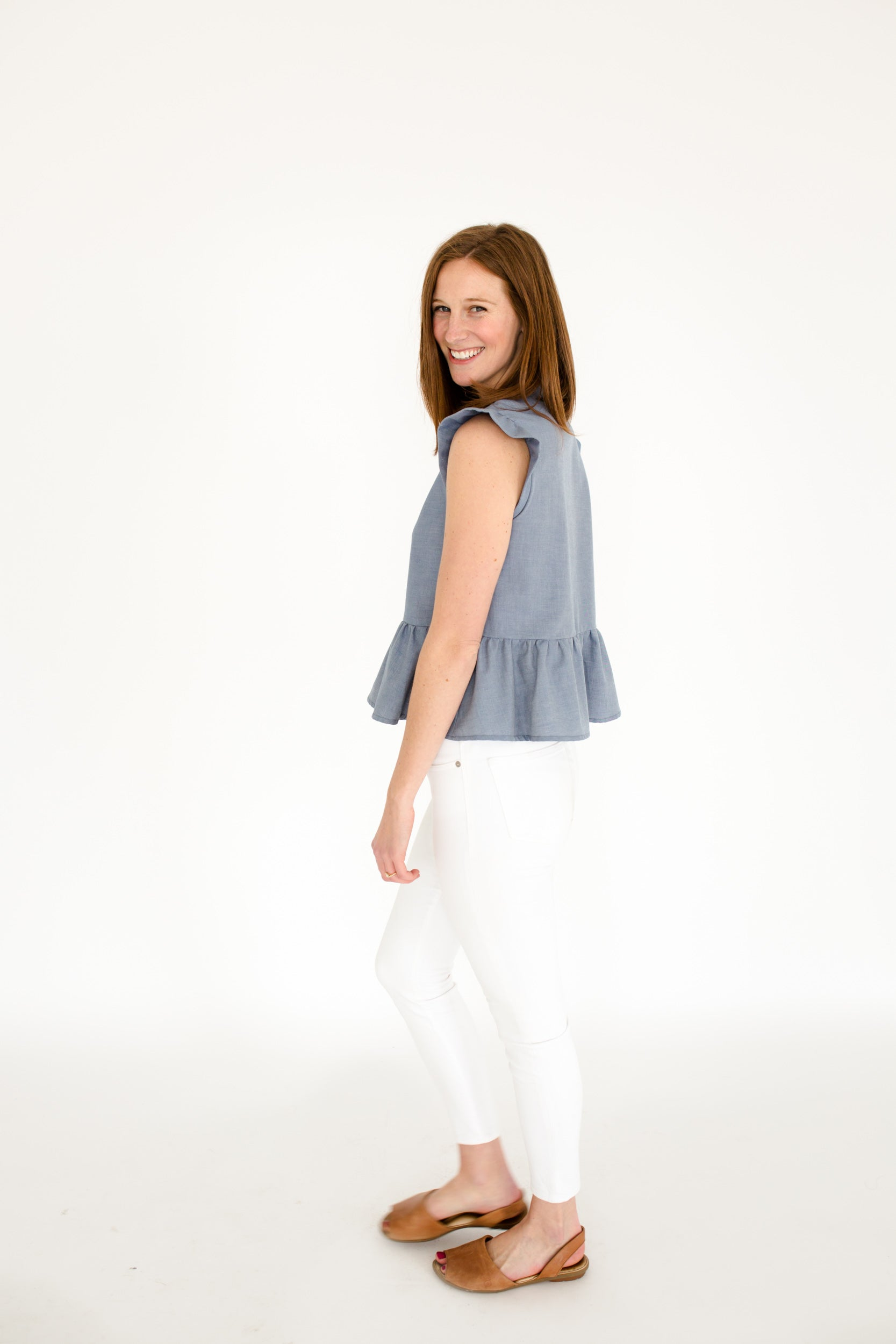 Gracie Peplum Top in Chambray