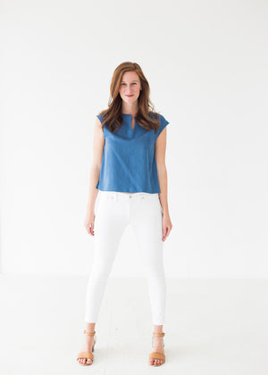 Elizabeth Box Top in Chambray