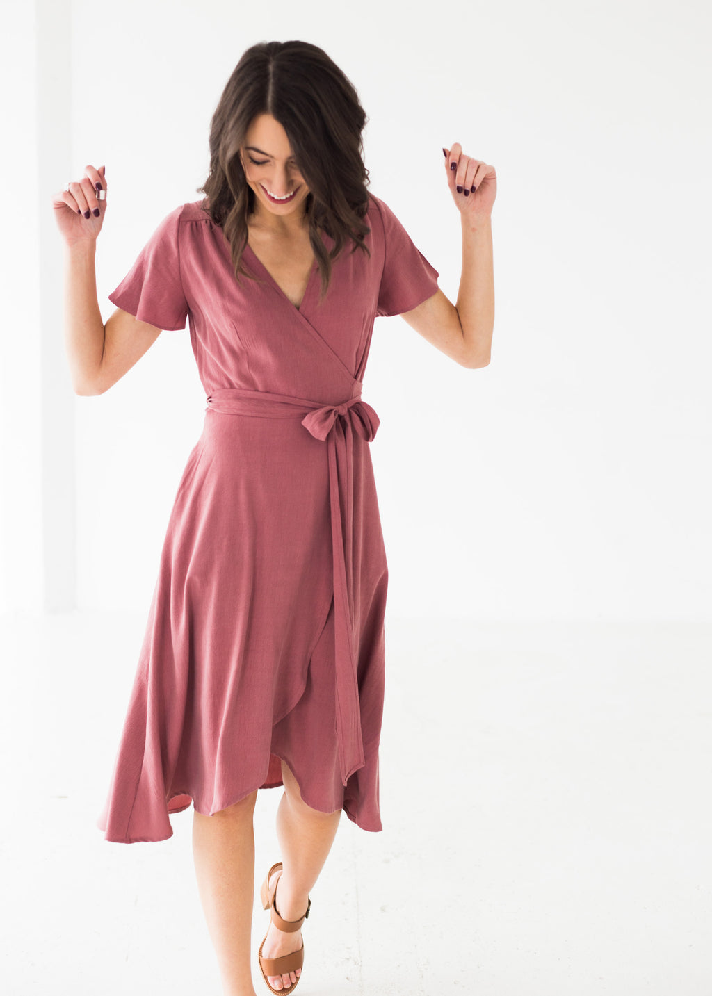 Charlotte Wrap Dress in Rosewood