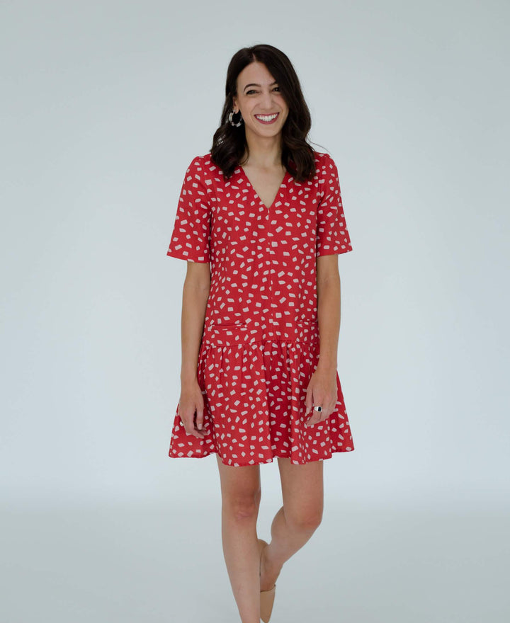 Kate Dress in Red/Pink Confetti