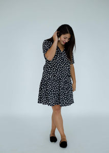 Kate Dress in Black/White Confetti