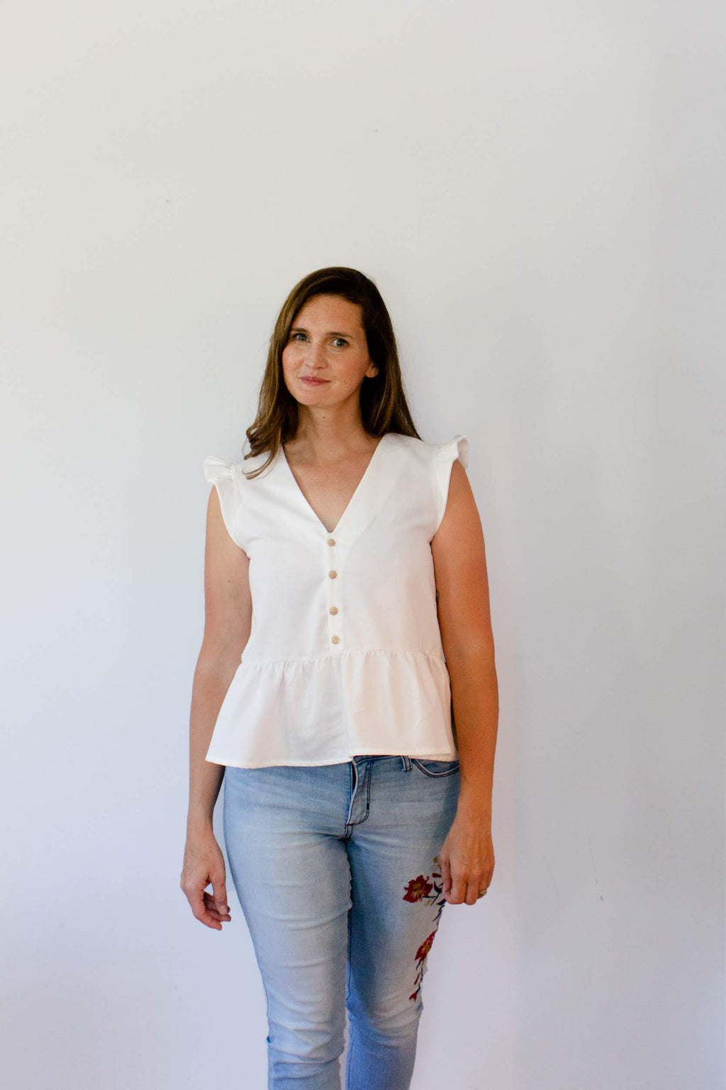 Button Front Gracie Peplum Top in White