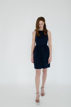 Emily Dress in Navy Front