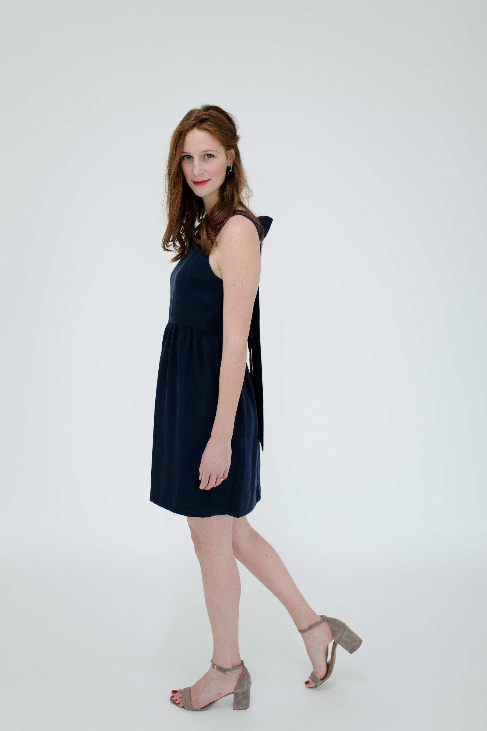 Emily Dress in Navy Side