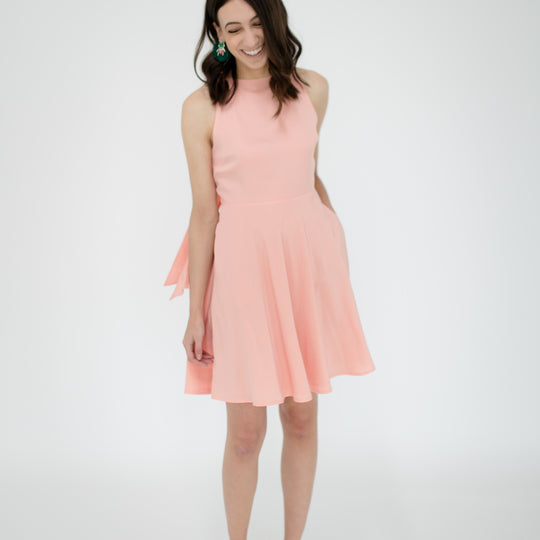 Emily Dress in Peach Peony Front