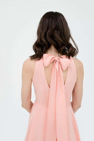 Emily Dress in Peach Peony Detail