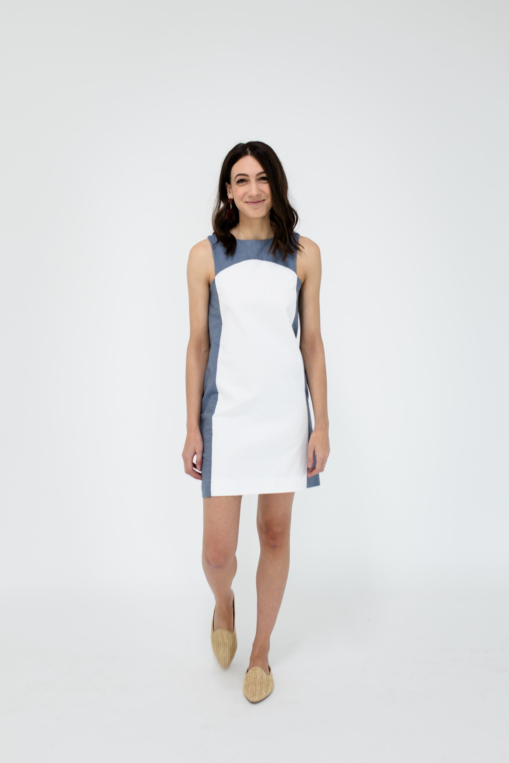 Marisa Dress in White/Chambray Front