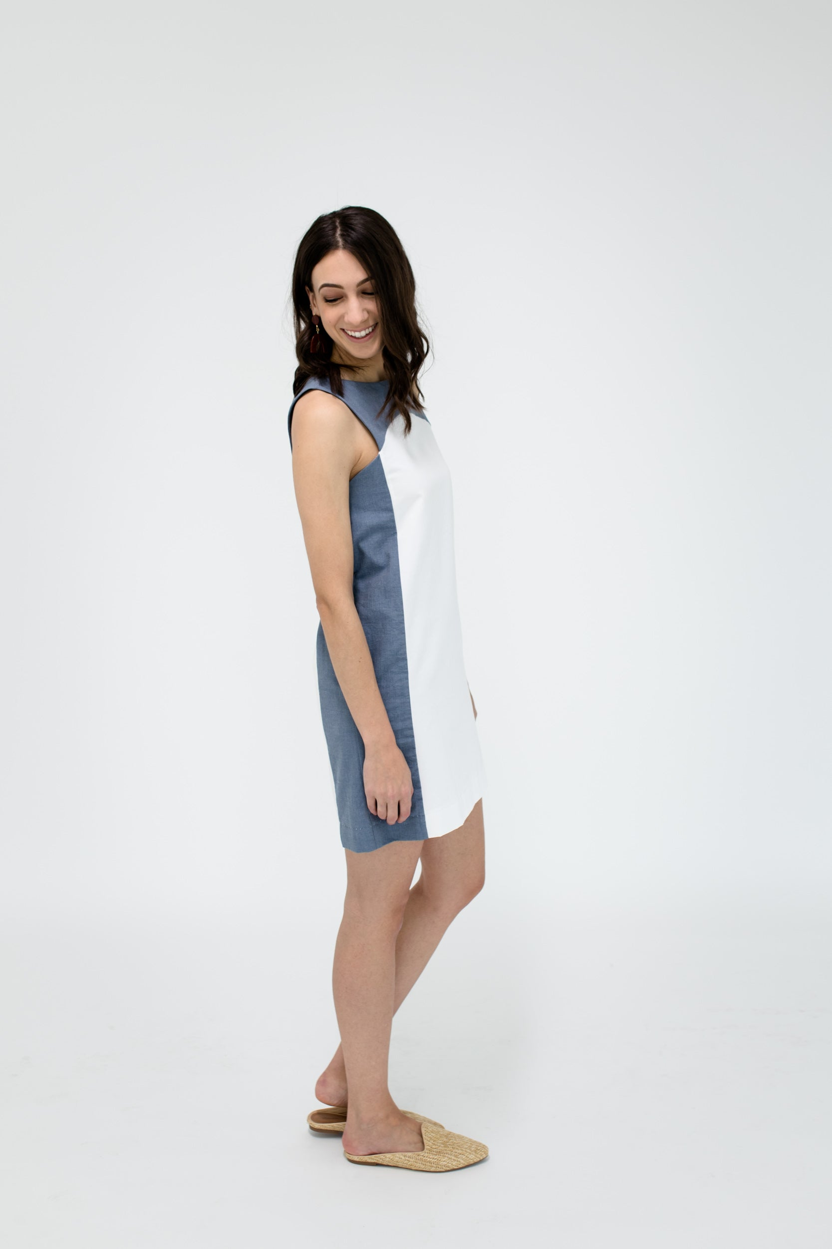 Marisa Dress in White/Chambray Side