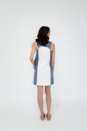 Marisa Dress in White/Chambray Back