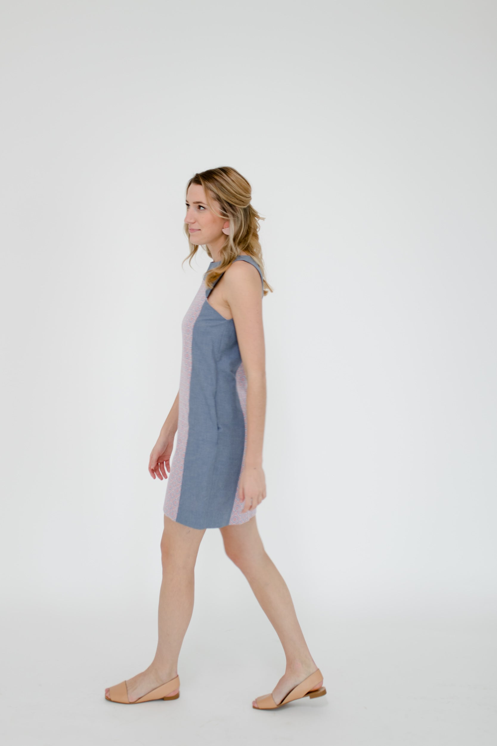 Marisa Dress in Geo/Chambray Side