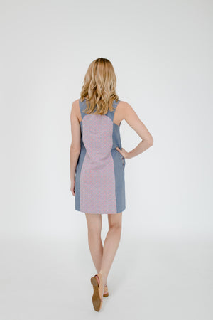 Marisa Dress in Geo/Chambray Back