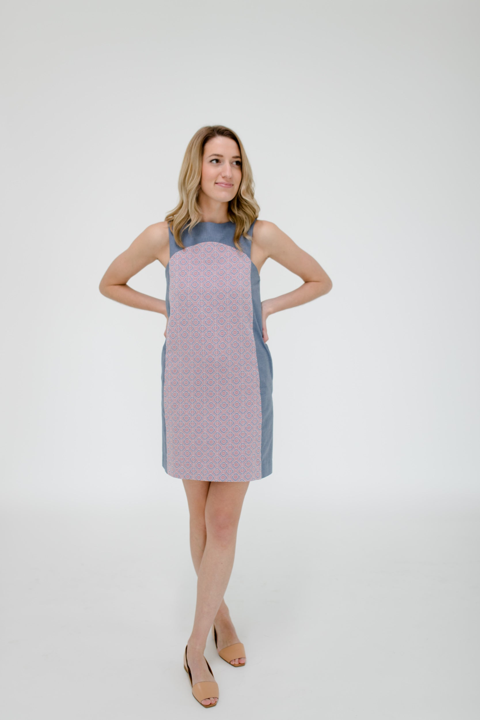 Marisa Dress in Geo/Chambray Front
