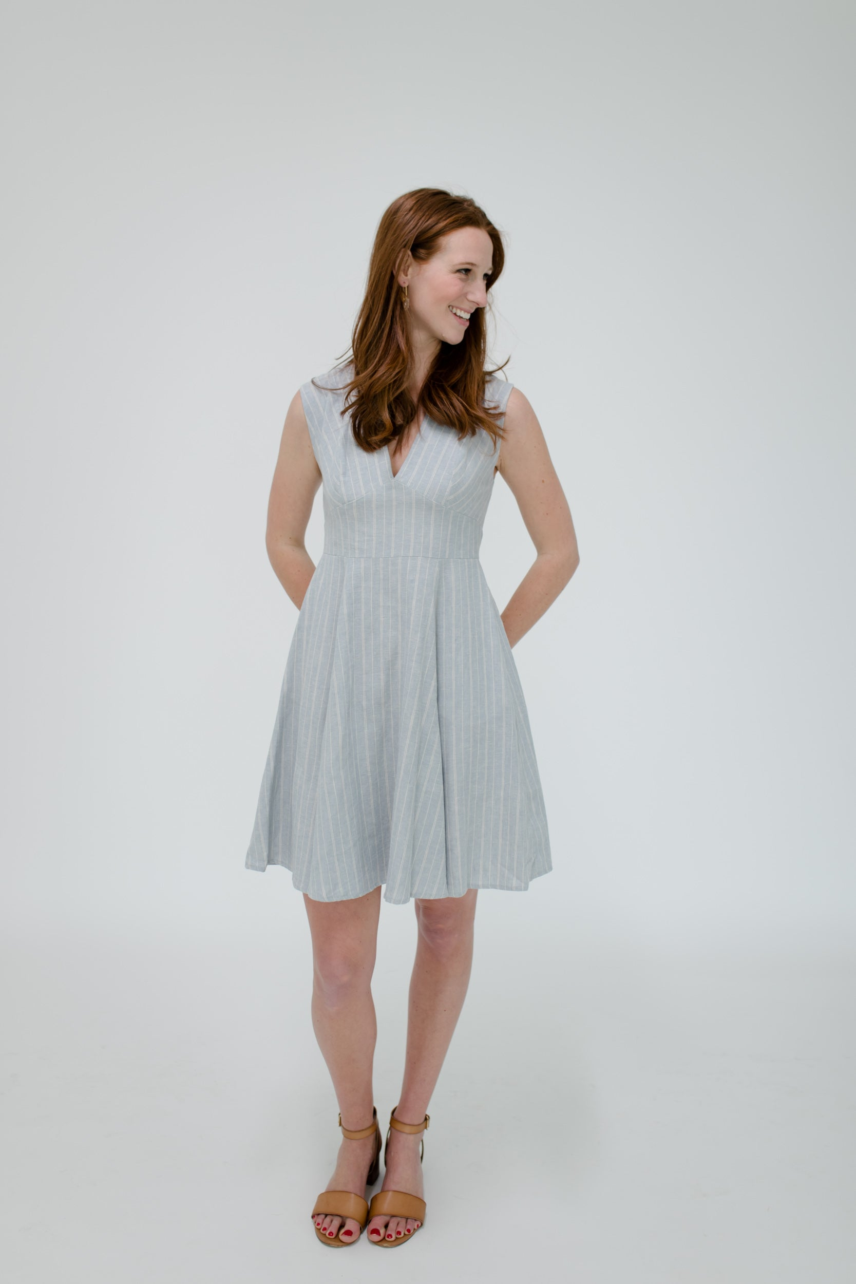 Kelly Dress in Sea Stripe Front