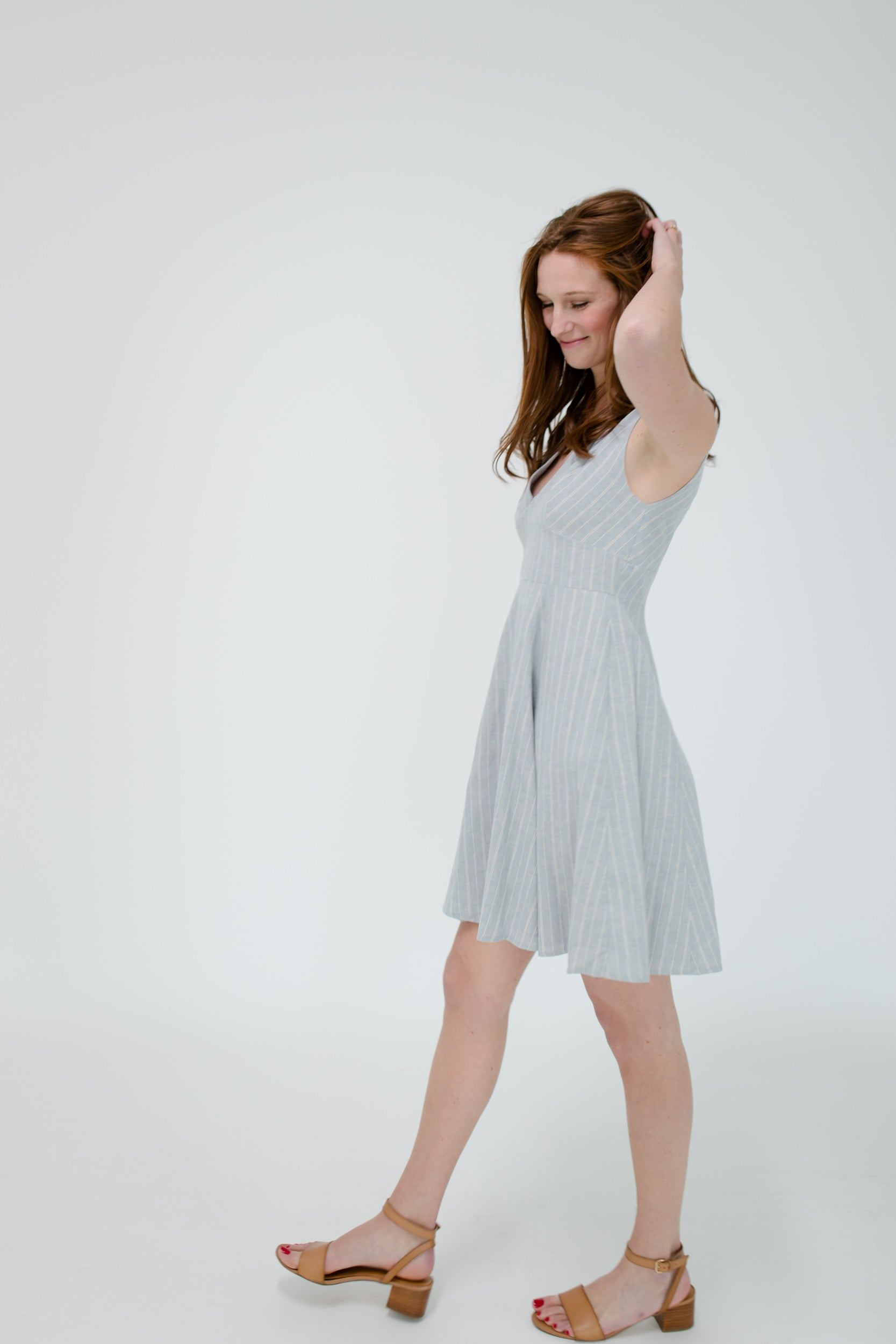 Kelly Dress in Sea Stripe Side