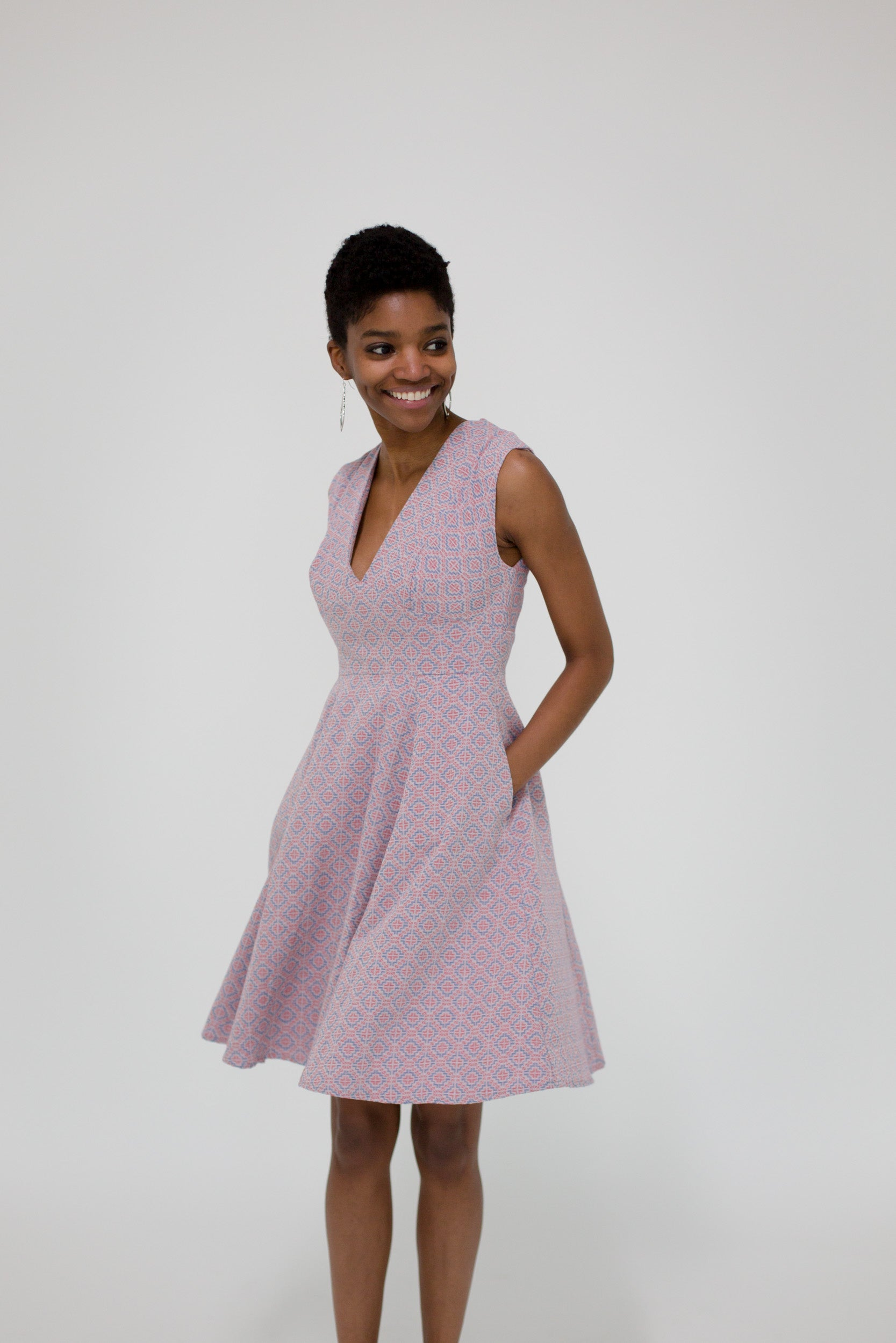 Kelly Dress in Geo Jacquard Front