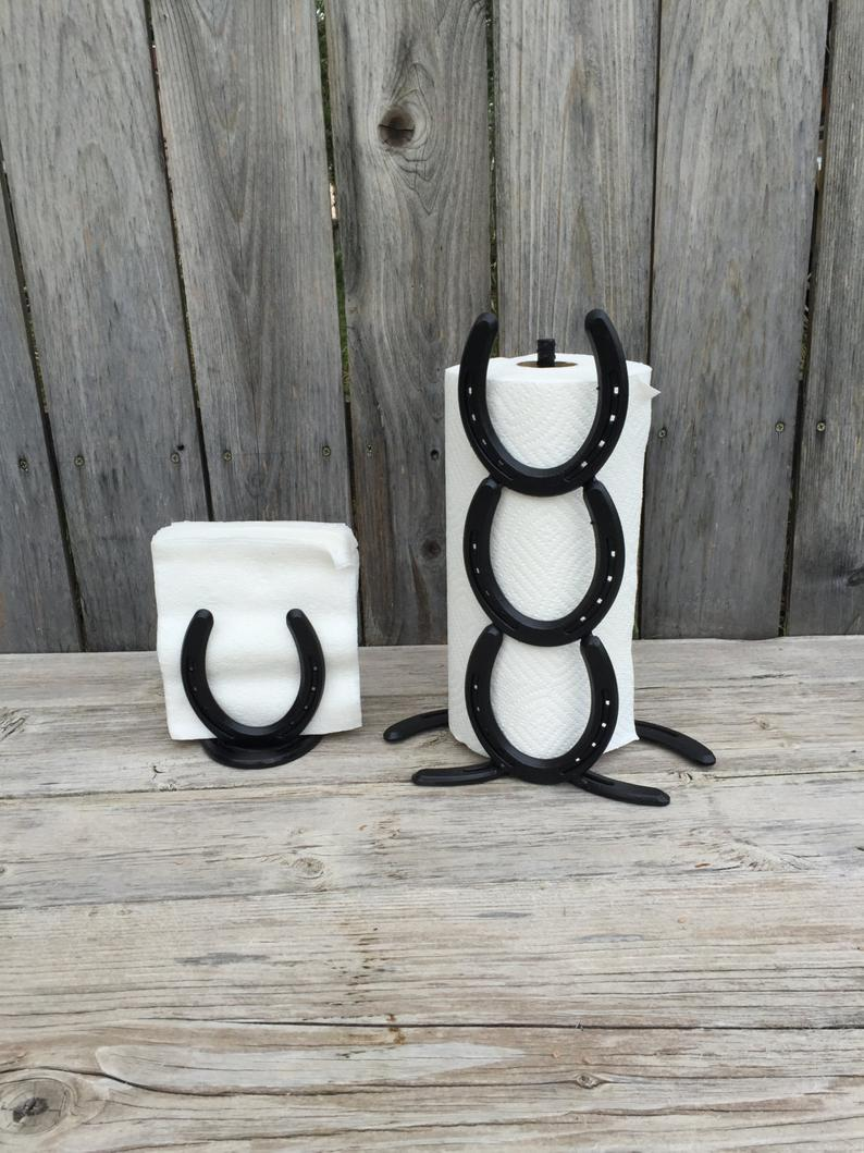 Kitchen Set - Paper Towel Holder and Napkin Holder Set - Horse Shoe Art - Horse Shoe Decor - Black Kitchen Set -