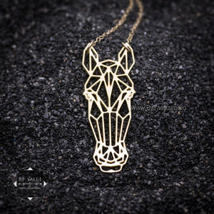 Gold horse necklace origami necklace geometric necklace origami horse nature jewelry nature necklace horse jewelry horse pendant animal
