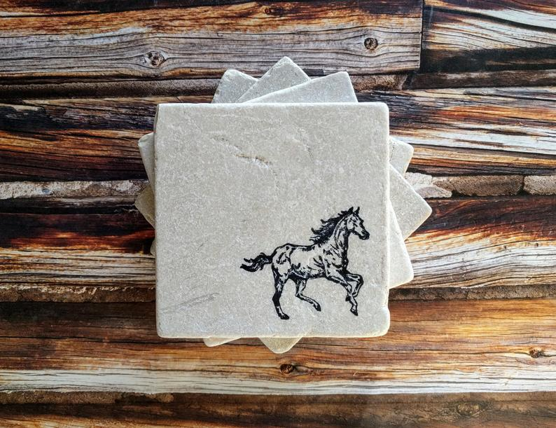 Horse Stone Coasters, Horse Riding Gift, Equestrian Gift Idea, Horse Lover Gift, Horse Home Decor, Stallion Coasters, Pony Coasters