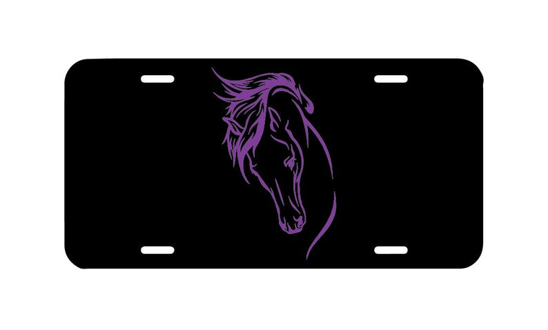 Horse head license plate, front of car tag, vanity license plate, equestrian lover plate, pretty girly horse, english horse cowgirl car tag