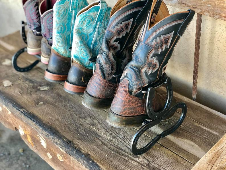 Boot Rack, Horseshoe Boot Rack Three Pair Boot Holder, Boot Organizer, Shoe Holder, Shoe Rack, Western Decor, Country Decor, Horseshoe Art