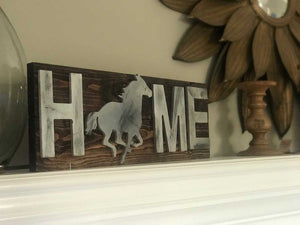 Home sign, Rustic horse sign, Horse home sign, Rustic home sign,  Horse sign, Derby decor, Southern decor