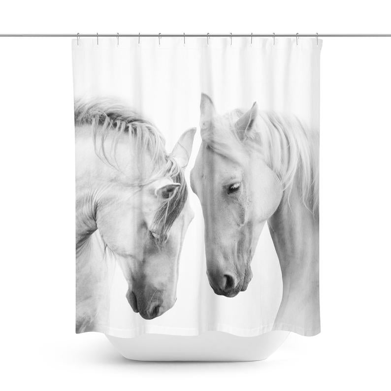 Horse Shower Curtain | White Horse Shower Curtain | Horse Bath Curtain | Horse Curtain | Horse Bathroom Décor | Horse Shower | Horse Bath