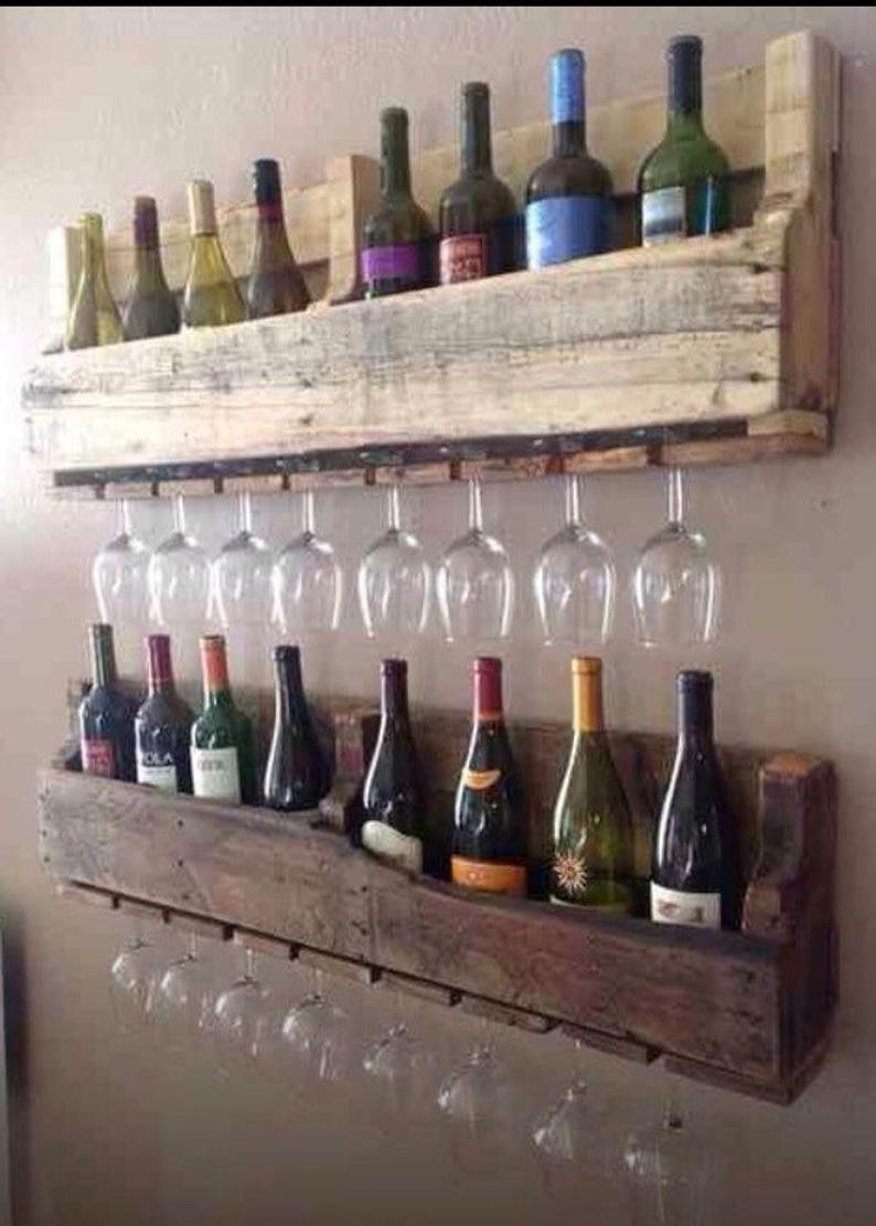 ONLY AVAILABLE IN UK - Rustic wine rack reclaimed wood made from recycled pallets 100cm