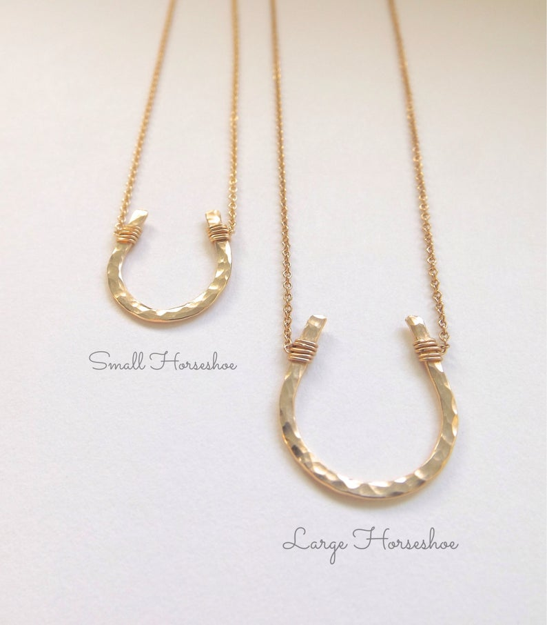 Small Gold Hammered Horseshoe Necklace // Cable Chain