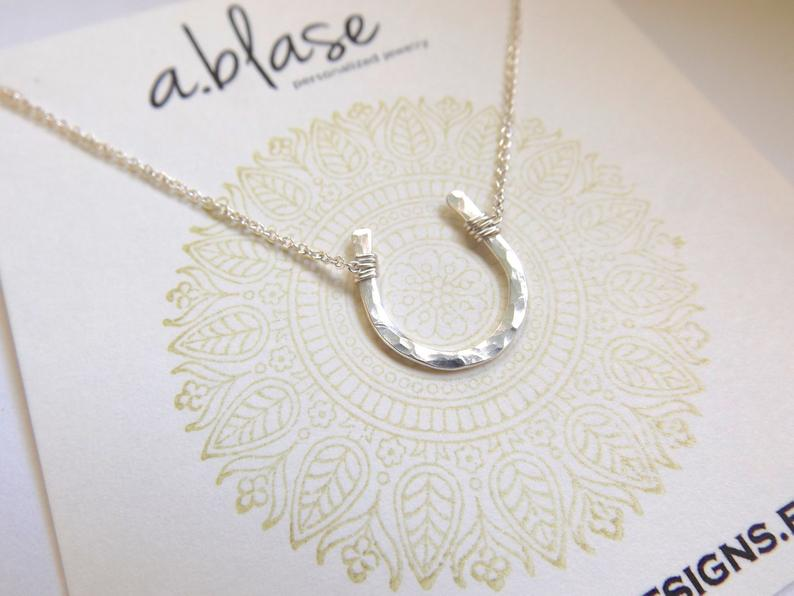 Small Silver Hammered Horseshoe Necklace // Cable Chain // Gorgeous Gift Option for Holidays!