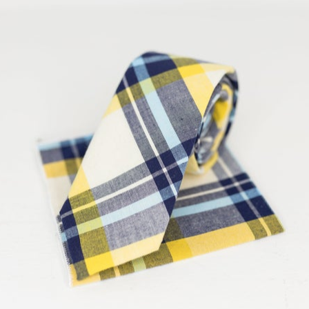 Yellow and blue neck tie and kerchief