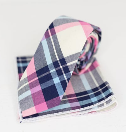 Pink and blue plaid tie with kerchief