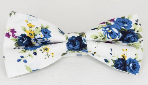 Blue and White Floral Bow Tie