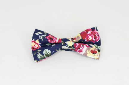 Navy PINK FLORAL BOW TIE