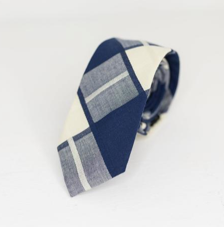Navy and Ivory Plaid Tie