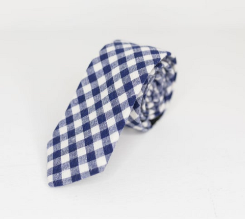 NAVY AND WHITE CHECKER NECK TIE