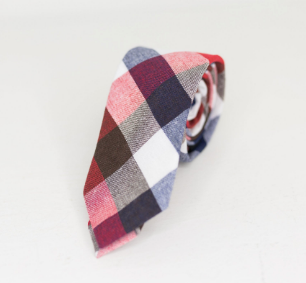 Brown blue and red neck tie