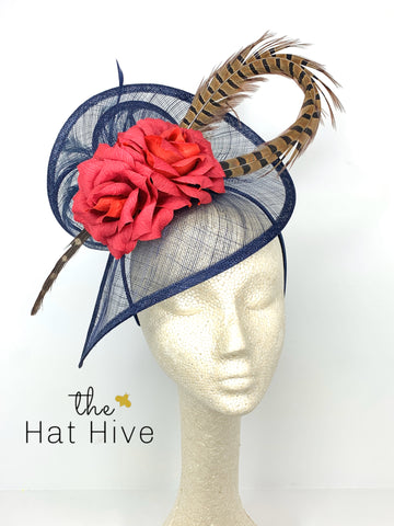 RED ROSE FASCINATOR HAT