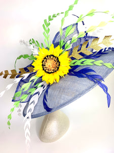 FADED DENIM BLUE & SUNFLOWER HAT