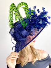 Load image into Gallery viewer, LIME GREEN FEATHERS ON NAVY HAT