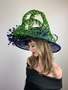 LIME GREEN FEATHERS ON NAVY HAT