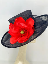 Load image into Gallery viewer, RED MAGNOLIA ON BLACK HAT