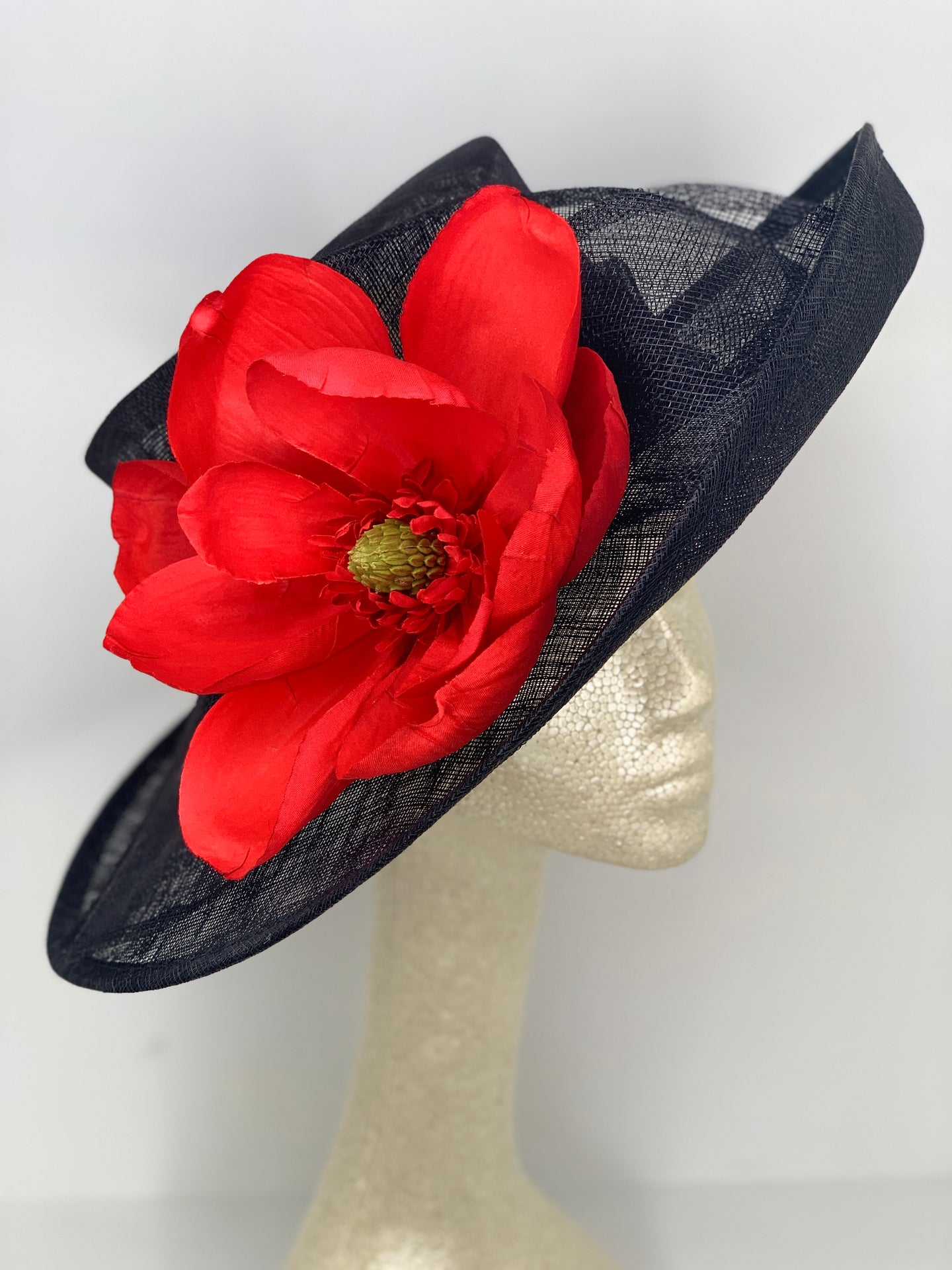 RED MAGNOLIA ON BLACK HAT