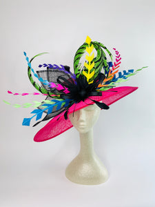 FUCHSIA PINK ELECTRIC DERBY HAT