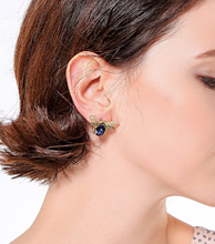 Load image into Gallery viewer, BLUE GLASS BEE EARRINGS